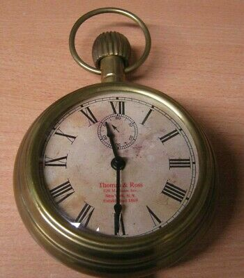 Vintage Large Brass Display Pocket Watch Style Clock by Thomas Ross New York