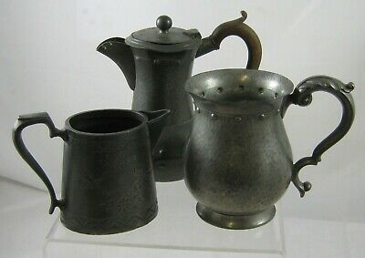 Hammered - Pewter-  Coffee/Tea POT 'W & Co'- pewter pint mug & cream jug