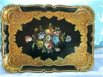 Ornate Black Gold Gilt Floral Large Italian Florentine Wood Tole Serving Tray