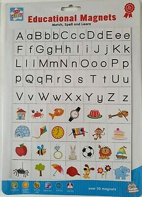 Educational Magnetic Letters Sheet Match Spell Alphabet Toy Fridge Magnets 70+