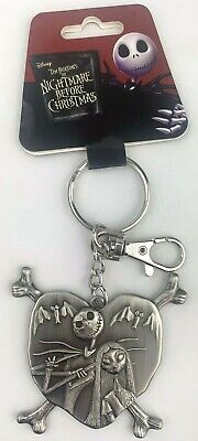 Disney NBC Jack and Sally in Heart Pewter Keyring