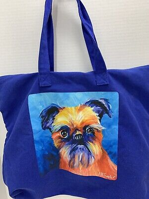 """Brussels Griffon Dog Tote Bag Blue Painted Signed 20""""x17"""" Inner Pocket Zippered"""
