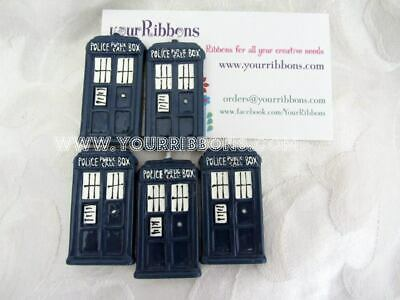 Tardis Dr Who Flat Back resin for bows craft 5 pack