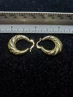 18k 750 Solid Gold Scrap Wear Estate Hoop Earrings 3.41 grams