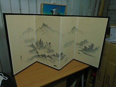 Antique Japanese Antique 4 Panel Screen Divider, Hand Painted Artist Signed
