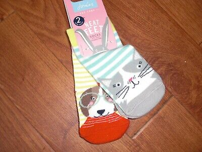 Bnwt Baby Girls Joules Cat & Dog 2 Pair Pack Bamboo Neat Feet Socks Age 0-6 Mths