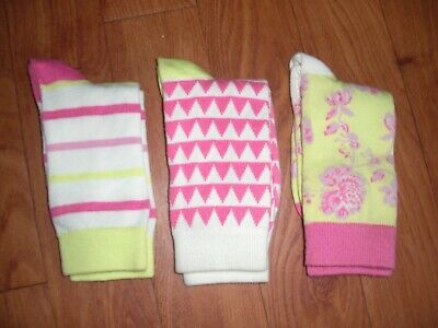 Bnwt Girls Joules Neon Lime Floral  3 Pair Pack Bamboo Neat Feet Socks 9-12