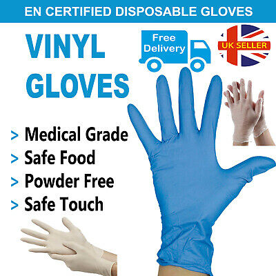 Blue Disposable Gloves Medical Powder Free Latex Free Vinyl Gloves Antibacterial