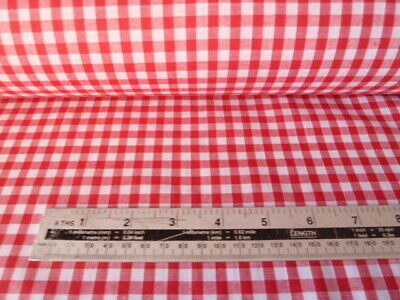 """RED 1//4/"""" Gingham Check poly cotton material sold by the metre 115cm"""