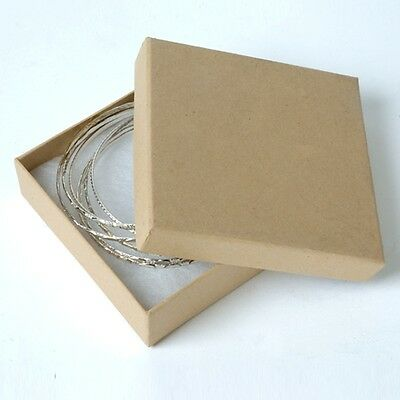 "Jewelry Gift Boxes 3 ½"" x 3 ½ x 1"" 100 Kraft Cotton Filled Lid Natural Matte"