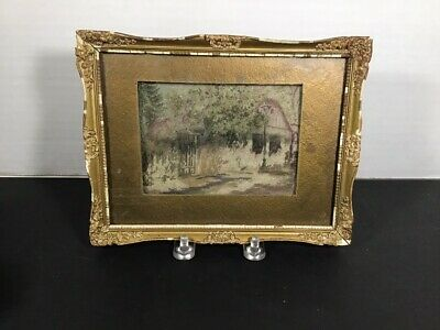 Framed Antique Vienna Micro Petit Point Needlepoint Cottage Picture, sgn Mihalek