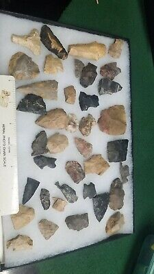 *** 39 Pc Lot Flint Arrowhead OH Collection Project Stone Spear Point ***