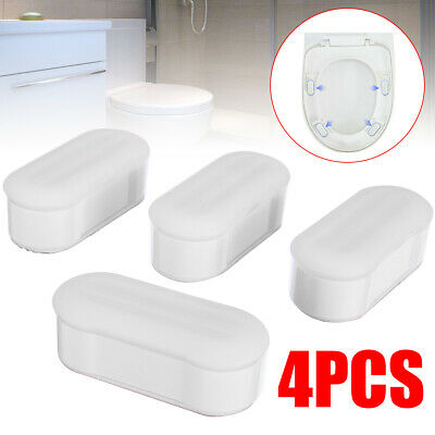 UK Bathroom Toilet Seat Buffers Set In White Long /& Wide 5x2cm Centres Plastic