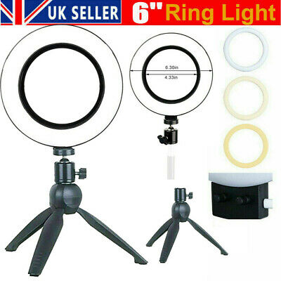 """6"""" LED Ring Light with Stand for Tiktok Youtube Makeup Video Live Phone Selfie"""