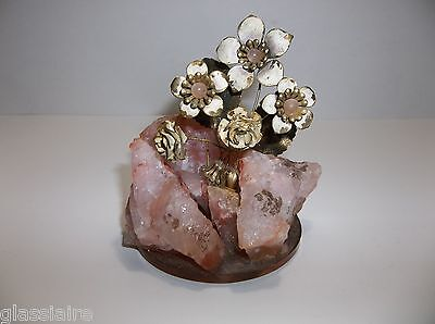 Vintage Frank Mosse ROSE QUARTZ Enamel Flower Sculpture