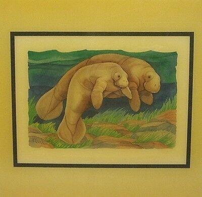 "Vintage PAUL BRENT Signed Print CRYSTALLINE TILE 7.75"" MANATEE Mother And Baby"