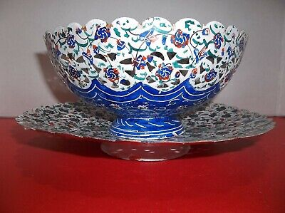 Antique PERSIAN Enameled Copper Kashkul BEGGARS Bowl And UNDERPLATE