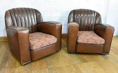 Antique pair of leather Art Deco tub - club chairs