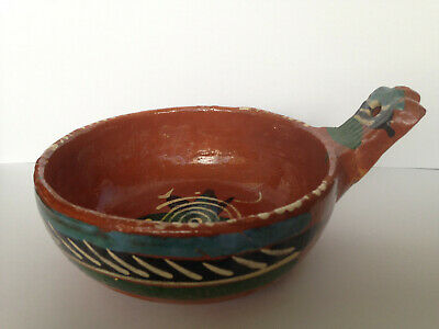 Vintage Mexican Terracotta Hand-Painted Glazed Pottery Bowl Serving Dish, Mexico