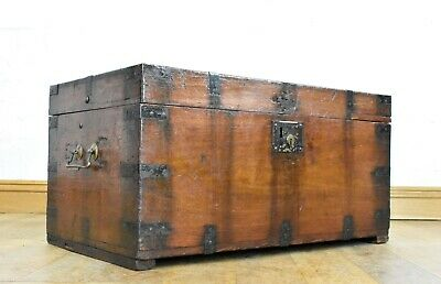 Antique 19th century campaign style pine ottoman - chest - blanket box