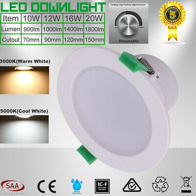 Ceiling LED Downlight Kit Dimmable10W 12W 16W 20W Warm/Cool White 5 Yrs Warranty