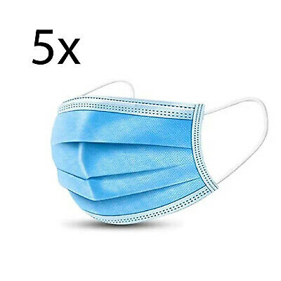 (Pack of 5)  3-Ply Face Mask, One Size Fits All, Disposable - Blue