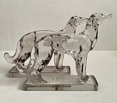Vintage New Martinsville Glass Wolfhound Dog Bookends