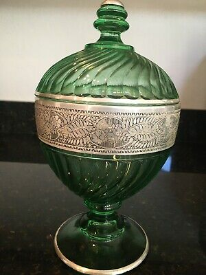 Beautiful Green Glass Jar Decorated with Sterling Silver Flowers & leaves, MB114