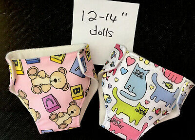 2 New Dolls Nappies Fit 1st Baby Born Baby Alive 1st Annabell Doll Clothes 12-14