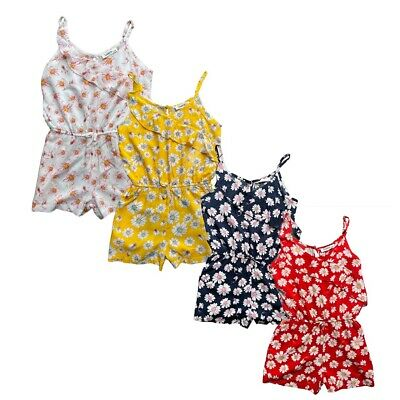 Kids Girls Floral Print Playsuit Jumpsuit Romper Summer Outfit Age Shorts 4-14