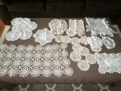 LOT - Antique Vintage Linen Crocheted Runners Dresser Doilies