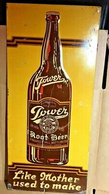 Antique Tower Root Beer Advertising TIN original 1920's Embossed sign FREE SHIP