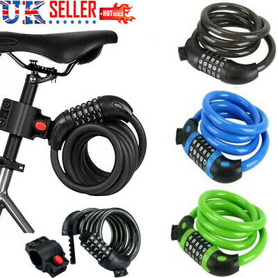 1.2M 4 Resettable Digit Combination Bike Lock Bicycle Spiral Steel Cable Lock UK