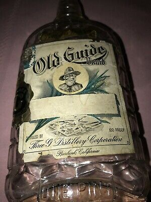Vintage Old Guide Brand Whiskey Bottle Paper Label One Pint
