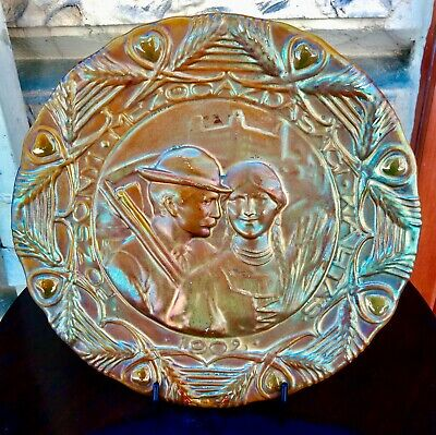 Zsolnay Art Nouveau Wallplate 1902. Agricultural Exhibition in Pozsony