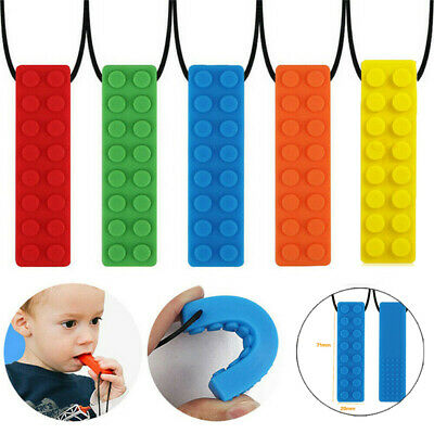 Kid Pencil Topper Chew Sensory Necklace Brick Autism Silicone Bite Teether Toy..