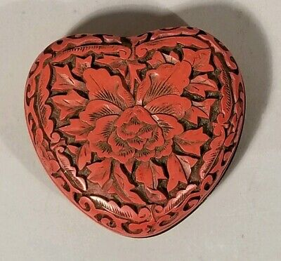 Antique Asian  Cinnabar Heart Box Red Black Lacquer Jewelry Trinket