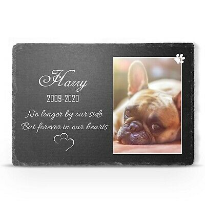 Personalised Pet Memorial Large Slate Grave Marker Cat Dog Custom Photo Plaque