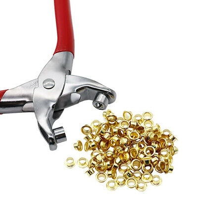 Eyelet Fabric Punch Pliers Leather Canvas Hole Puncher Tool 100 Brass Rings Kit