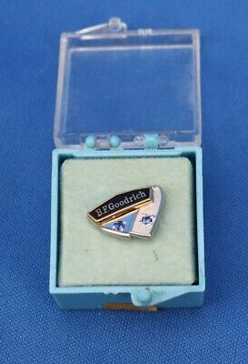 JS1 Vintage 1/10 10K Gold & Enamel BF GOODRICH Service Pin 1966 Two Blue Stones