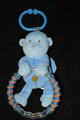 CARTERS Plush Blue Monkey Clip On Hanging Baby Rattle Teether Toy