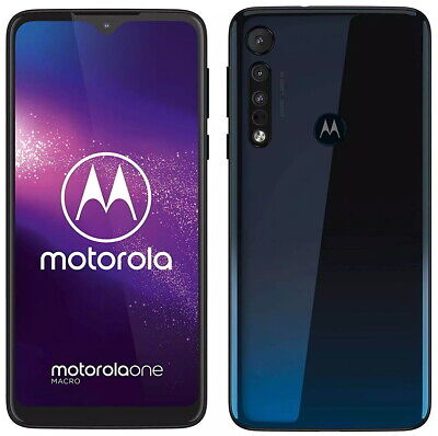 "Motorola One Macro Blue XT2016-1 Dual Sim (FACTORY UNLOCKED) 6.2"" 64GB 4GB RAM"