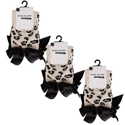 RIVER ISLAND GIRLS SOCKS  * WITH BOW DETAIL * 2 PAIRS IN A PACK x 3  = 6 PAIRS