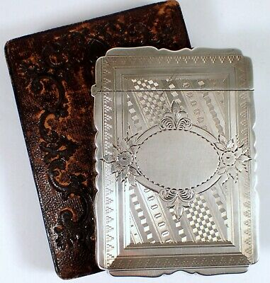 RARE Antique Albert Coles & Co Hallmarked Sterling Calling Card Case w Lined Box