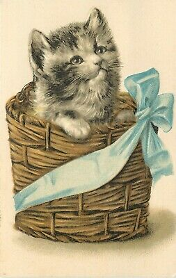 Embossed Cat Art Postcard 187; Very Fluffy Kitten in Basket with Blue Bow