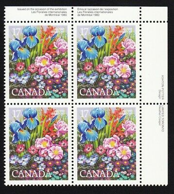 = GARDEN - FLOWERS - Iris, Aster - Canada 1980 #855 MNH-VF UR Block of 4, q01