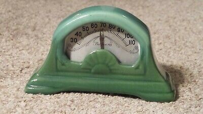 Antique Burksons Green Porcelain Thermometer