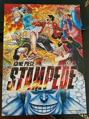 """One Piece Movie Stampede movie theater promo card flyer, 5"""" x 7"""" Funimation film"""