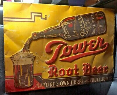 "Tower ROOT BEER EMBOSSED Sign, 1920's original  Large 19 X 13"" FREE SHIP"
