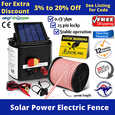 3km Solar Electric Fence Energiser Set Energizer Fencing Tape Insulator Farm Kit